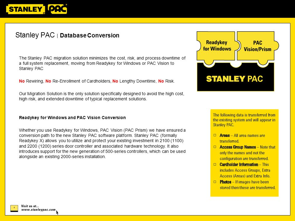 Stanley PAC | Database Conversion