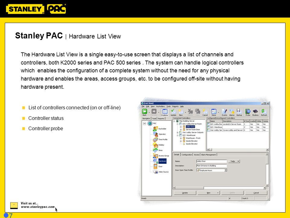Stanley PAC | Hardware List View