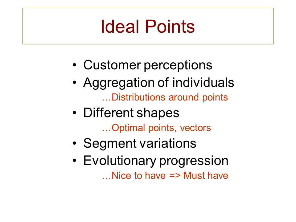 Ideal Points Customer perceptions Aggregation of individuals