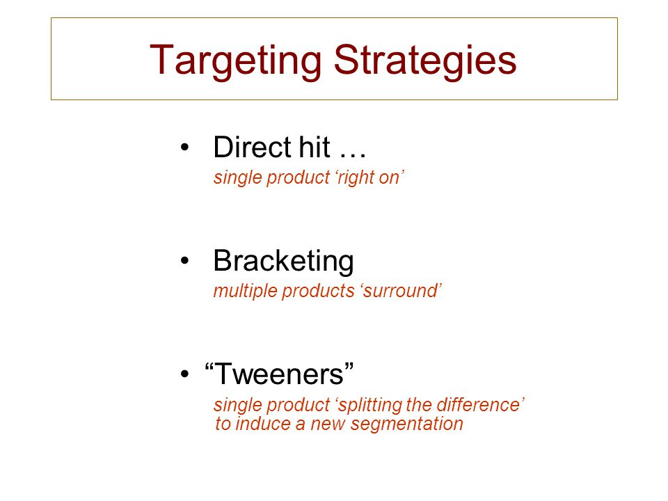 Targeting Strategies Direct hit … single product 'right on'