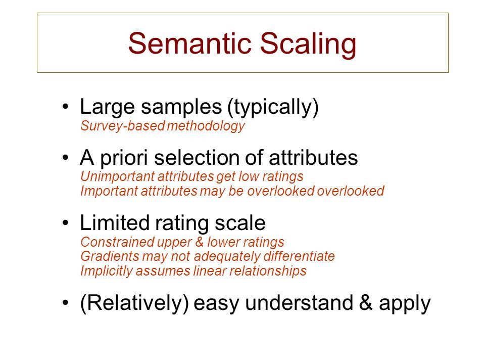 Semantic Scaling Large samples (typically) Survey-based methodology