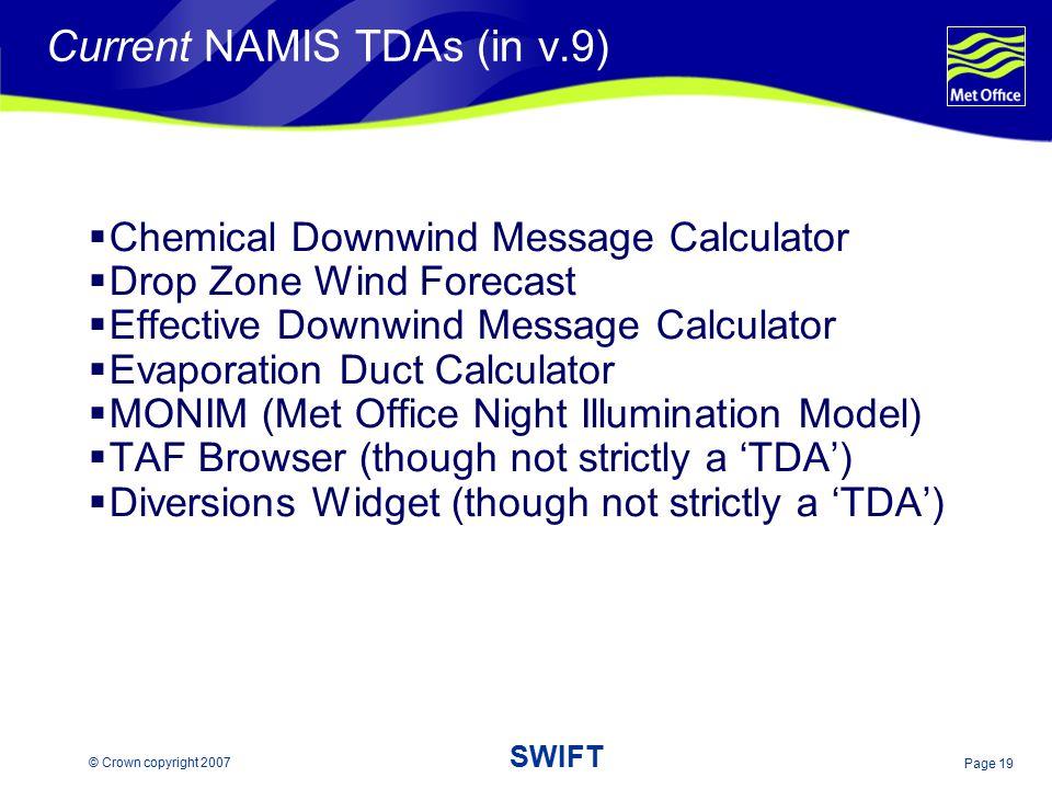 Current NAMIS TDAs (in v.9)