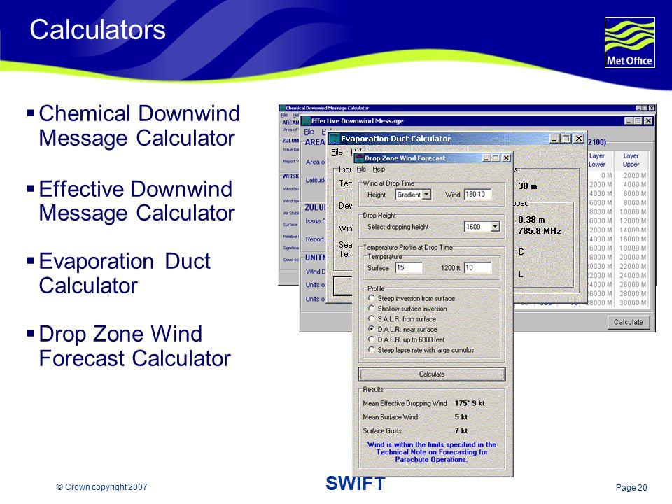 Calculators Chemical Downwind Message Calculator