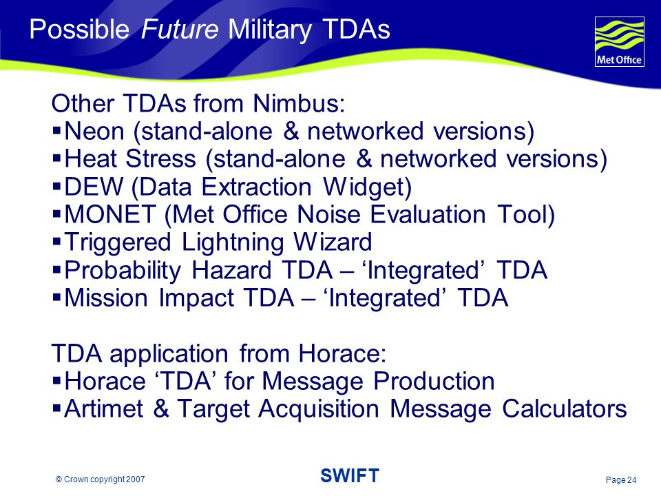 Possible Future Military TDAs