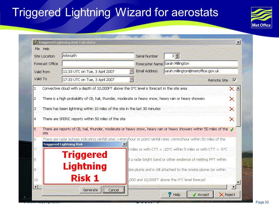 Triggered Lightning Wizard for aerostats
