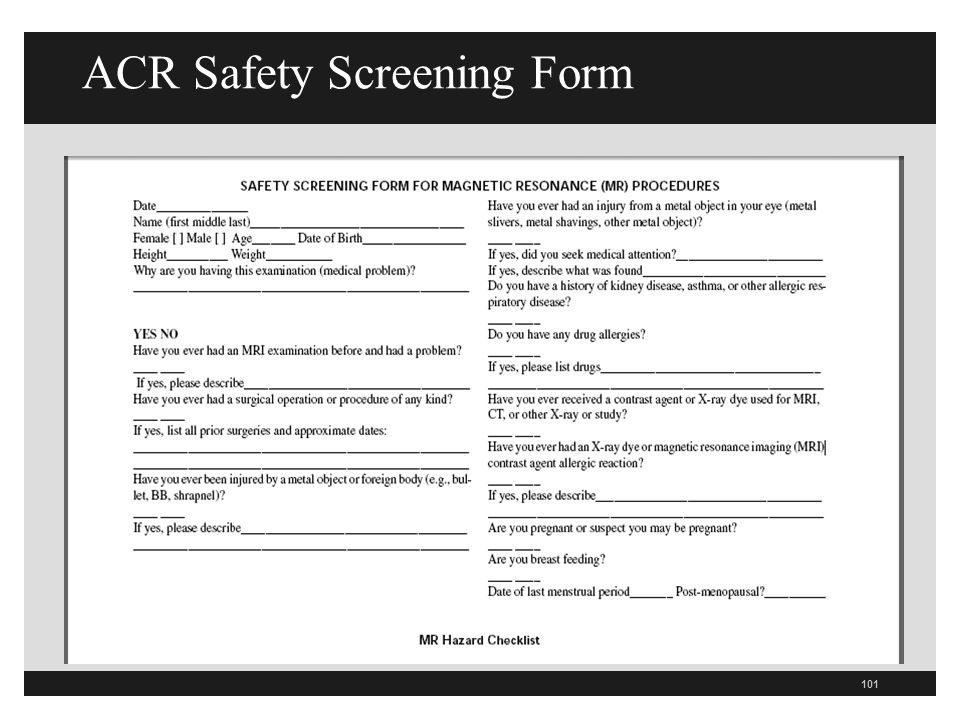 ACR Safety Screening Form