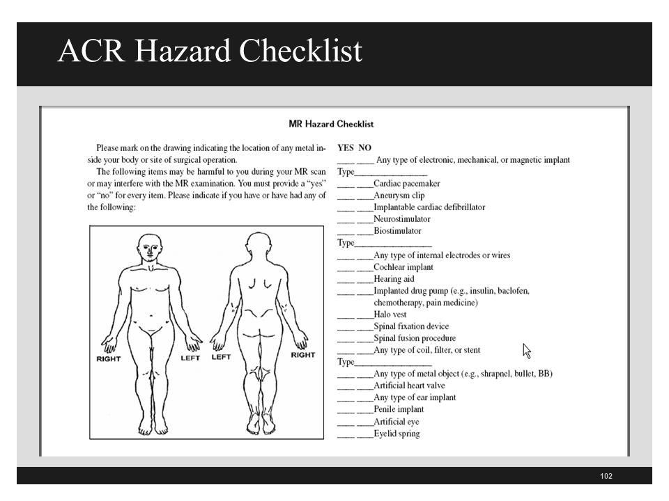 ACR Hazard Checklist