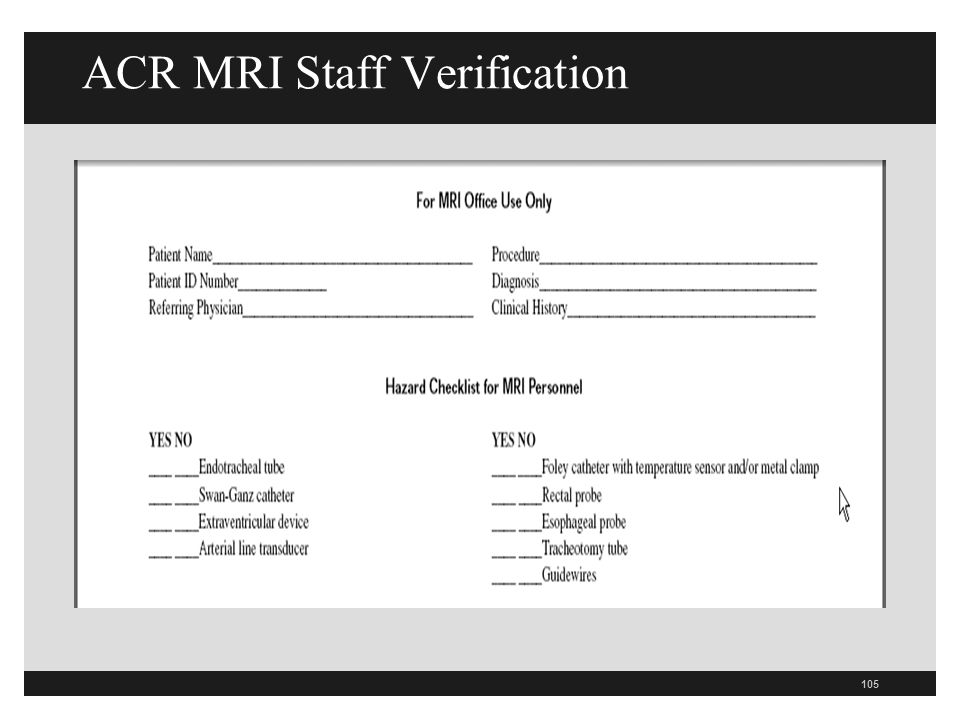ACR MRI Staff Verification