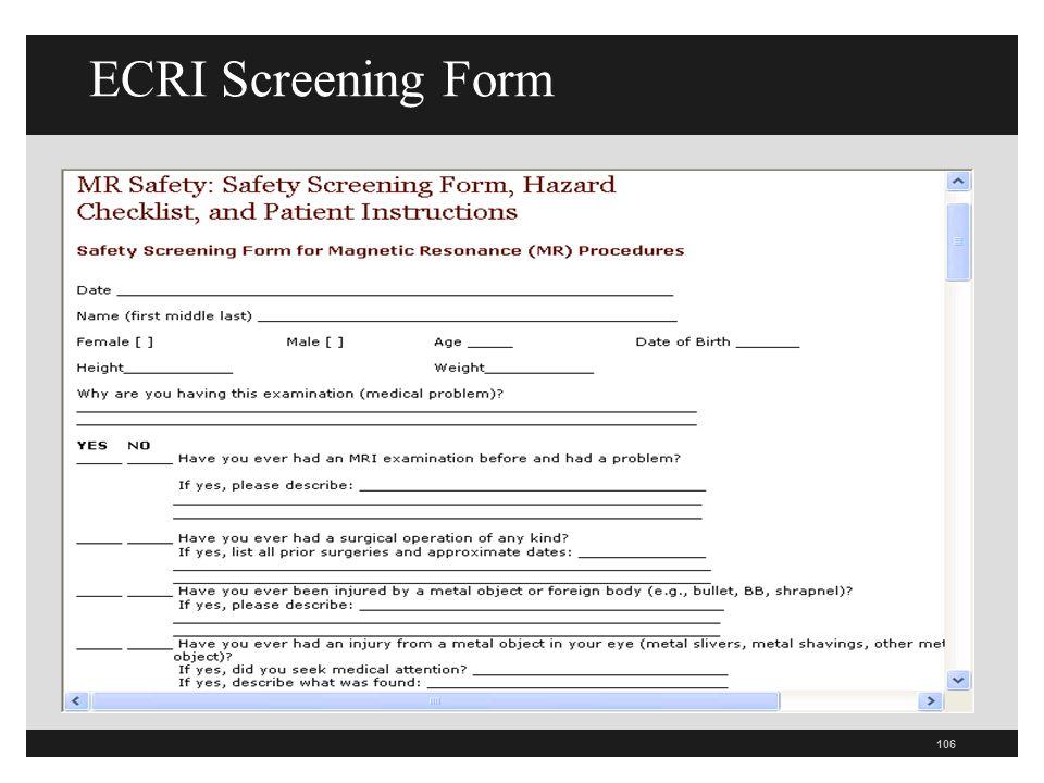 ECRI Screening Form