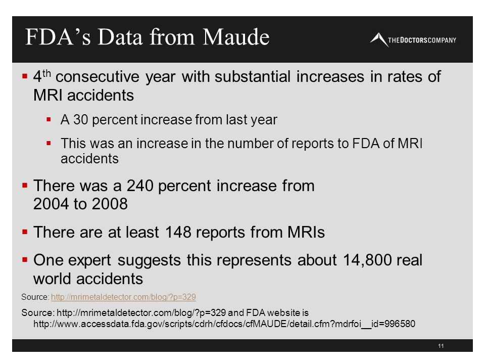 FDA's Data from Maude 4th consecutive year with substantial increases in rates of MRI accidents. A 30 percent increase from last year.