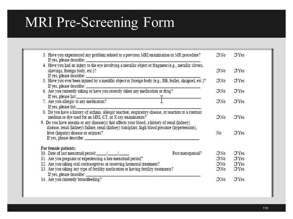 MRI Pre-Screening Form