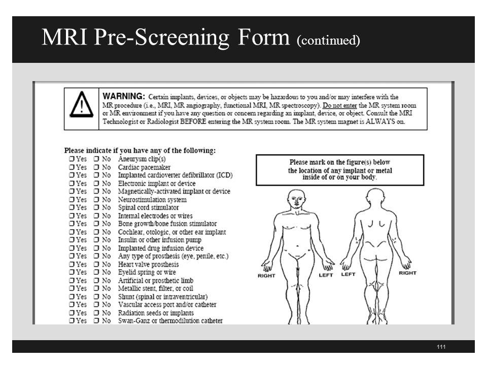 MRI Pre-Screening Form (continued)