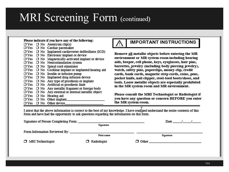 MRI Screening Form (continued)