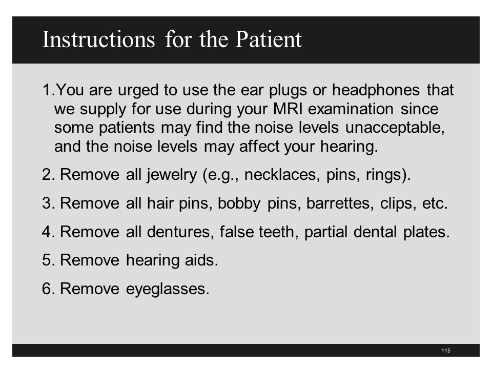 Instructions for the Patient