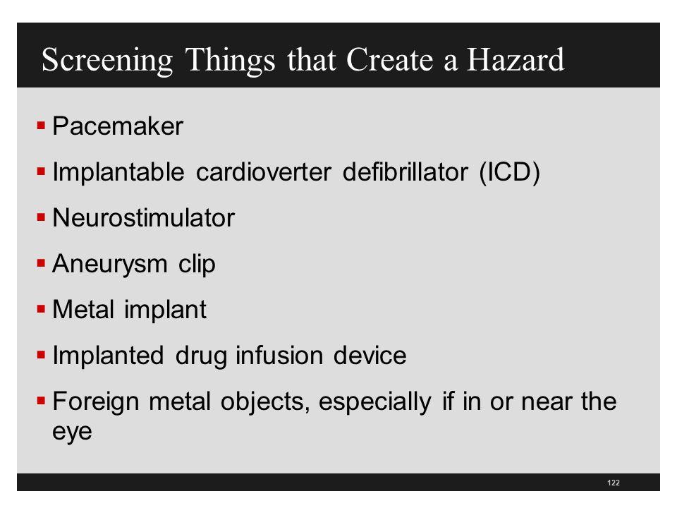 Screening Things that Create a Hazard