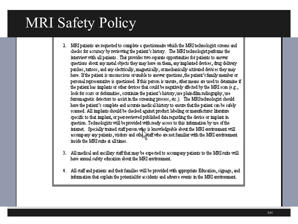 MRI Safety Policy