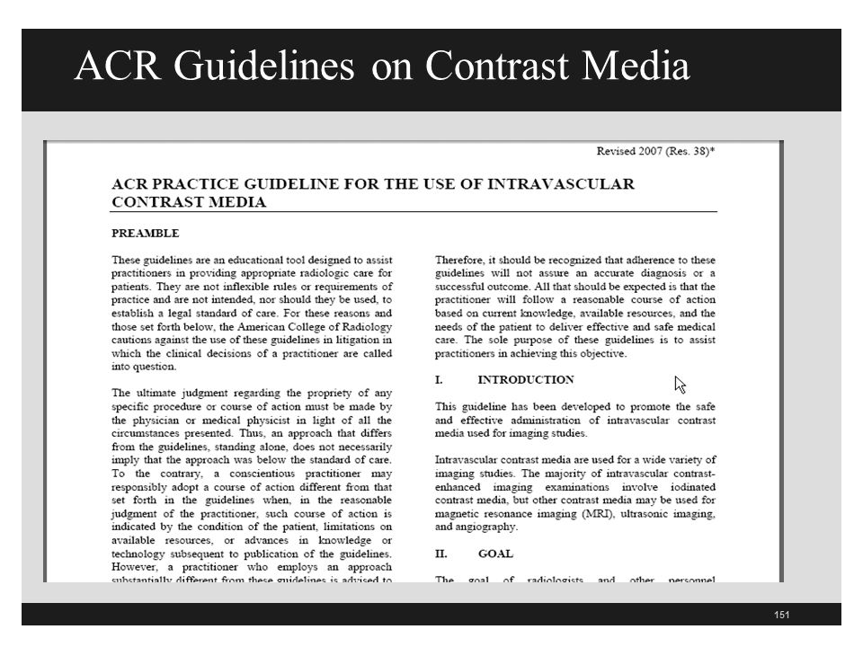 ACR Guidelines on Contrast Media