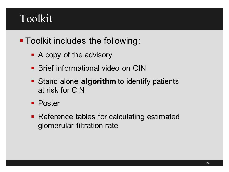 Toolkit Toolkit includes the following: A copy of the advisory