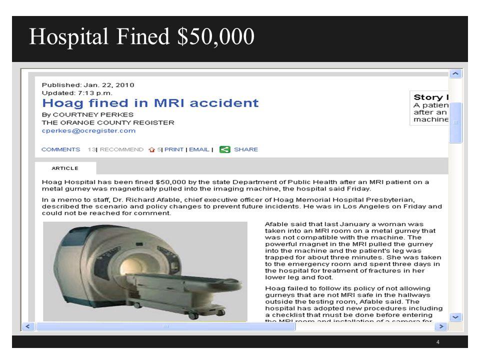 Hospital Fined $50,000