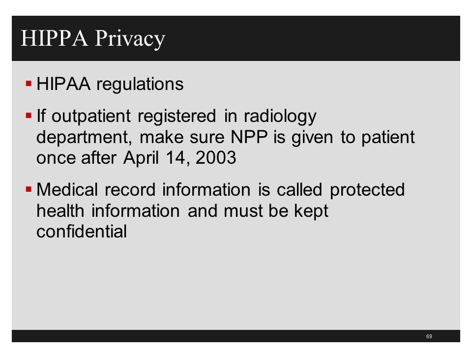 HIPPA Privacy HIPAA regulations