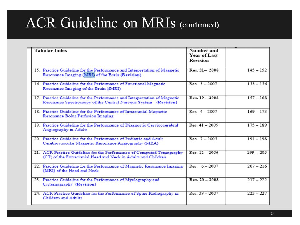 ACR Guideline on MRIs (continued)