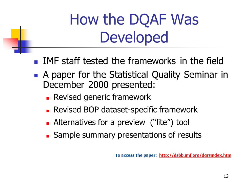 How the DQAF Was Developed