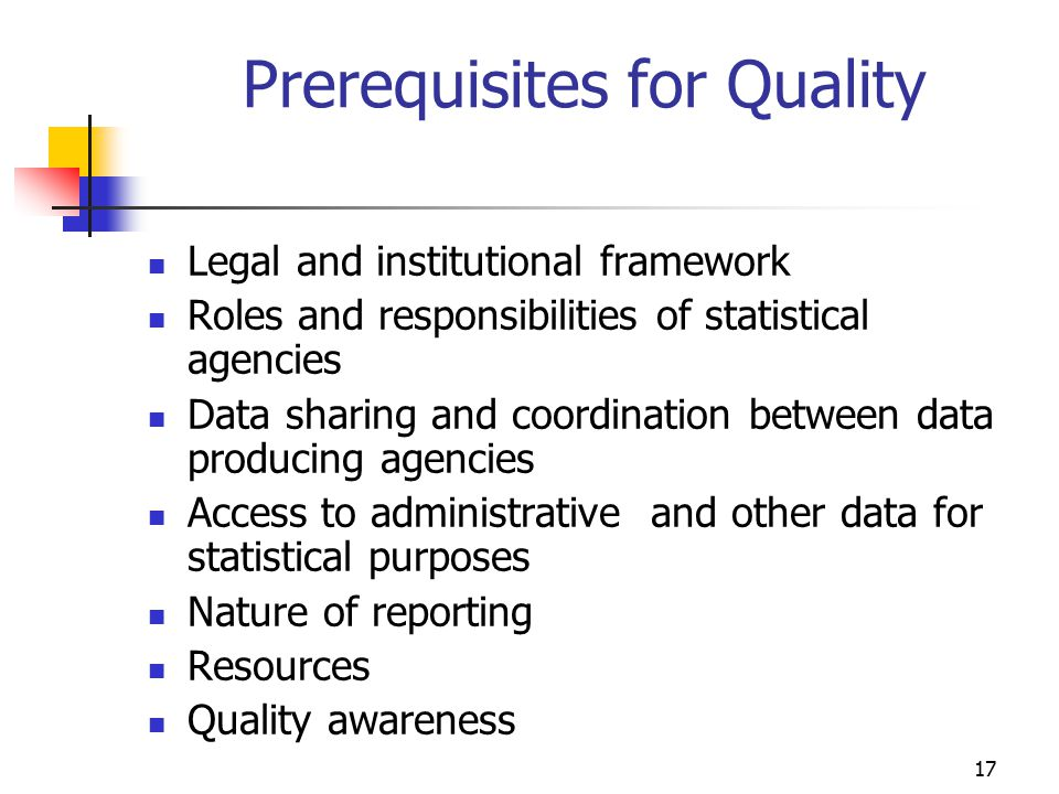 Prerequisites for Quality