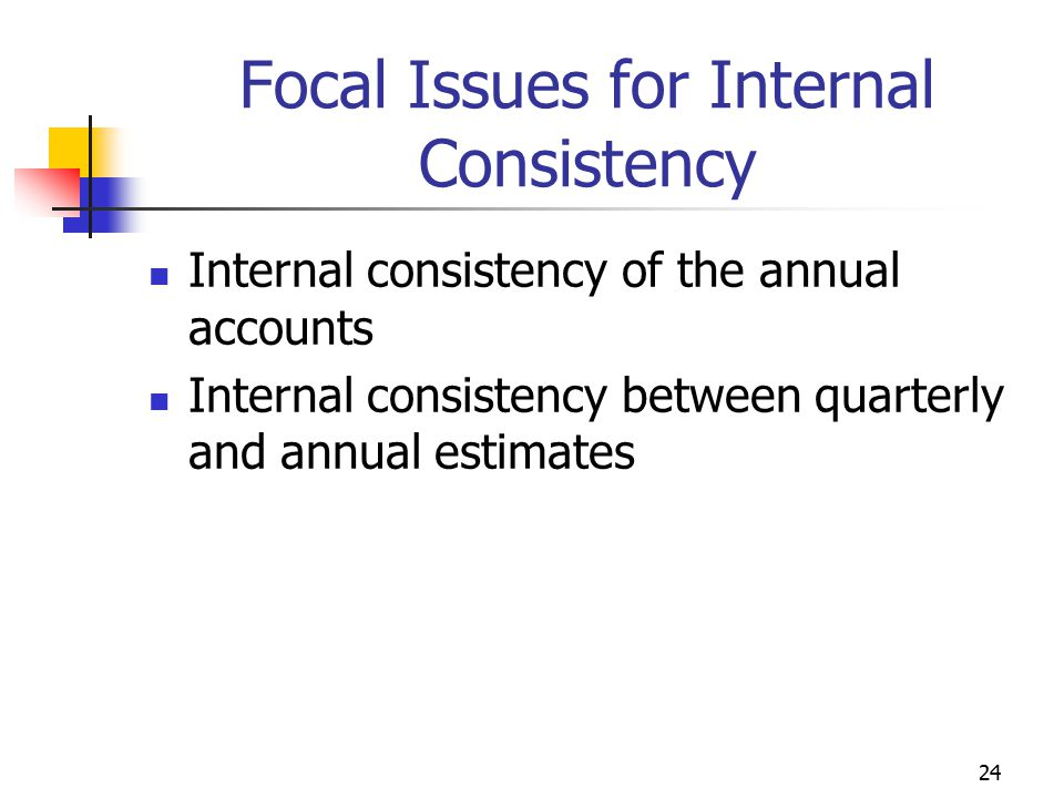 Focal Issues for Internal Consistency