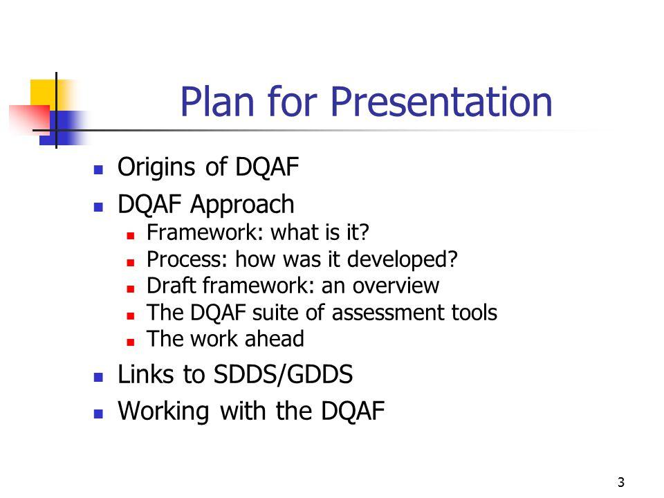 Plan for Presentation Origins of DQAF DQAF Approach Links to SDDS/GDDS
