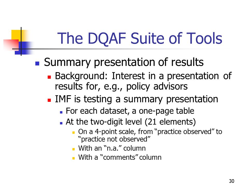 The DQAF Suite of Tools Summary presentation of results