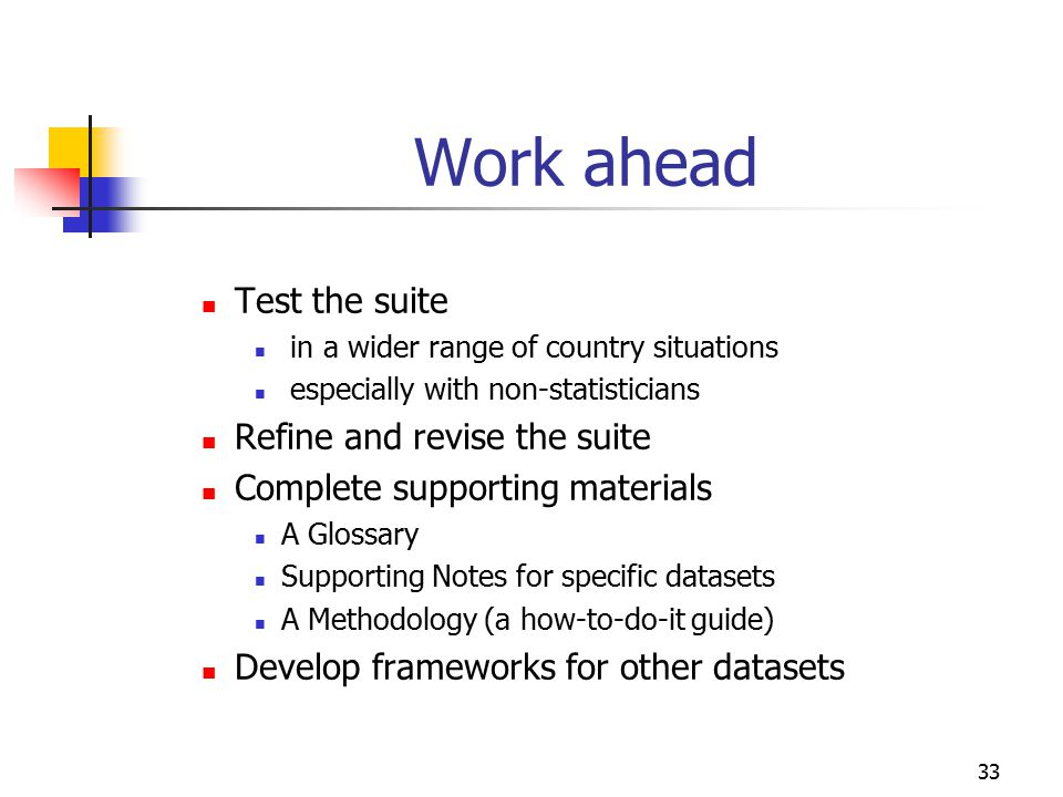 Work ahead Test the suite Refine and revise the suite