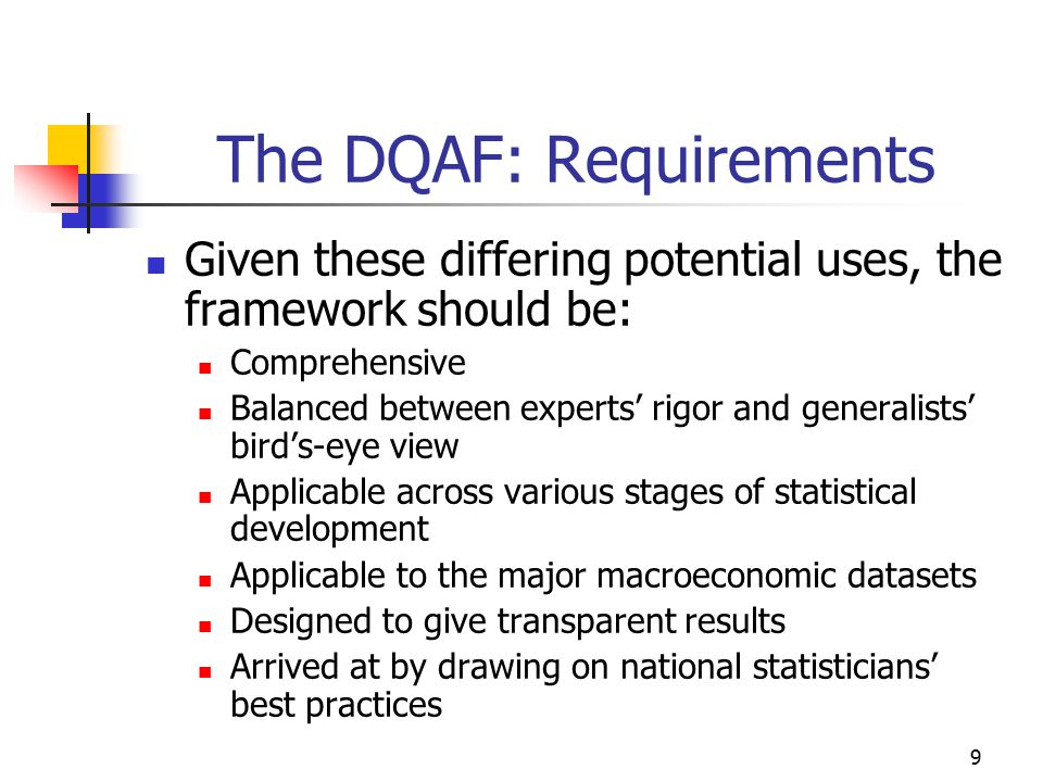The DQAF: Requirements