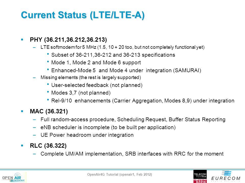 Current Status (LTE/LTE-A)