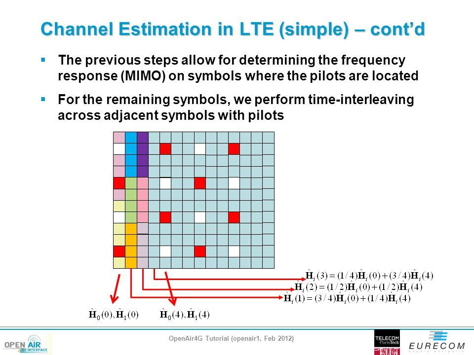 Channel Estimation in LTE (simple) – cont'd