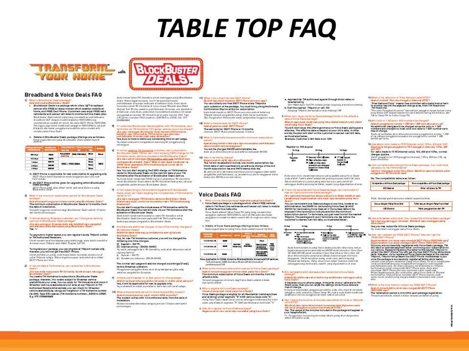 Table top FAQ