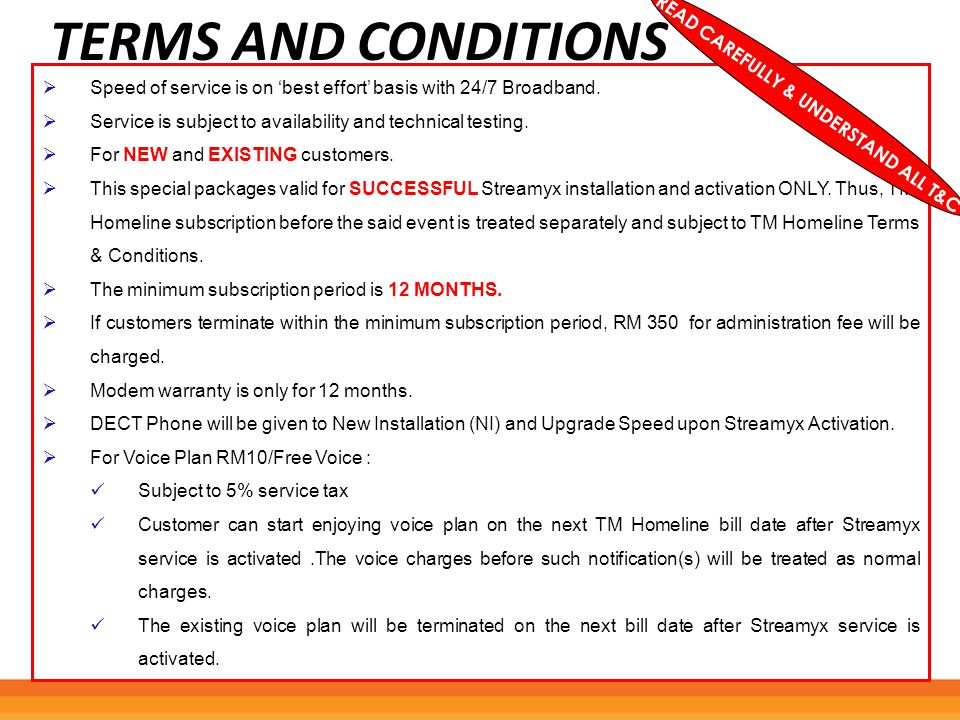 READ CAREFULLY & UNDERSTAND ALL T&C