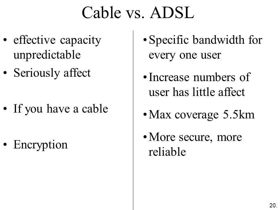 Cable vs. ADSL effective capacity unpredictable Seriously affect