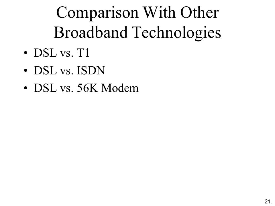 Comparison With Other Broadband Technologies