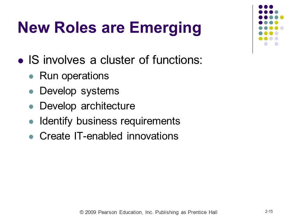 New Roles are Emerging IS involves a cluster of functions: