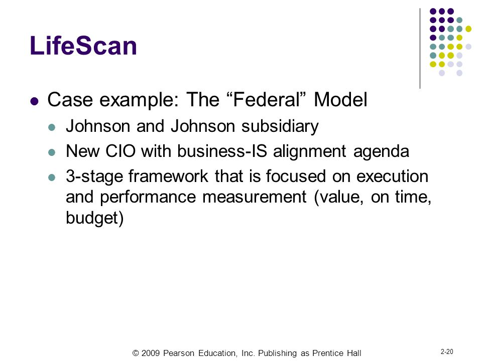 LifeScan Case example: The Federal Model
