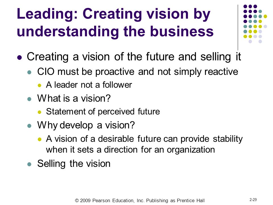 Leading: Creating vision by understanding the business