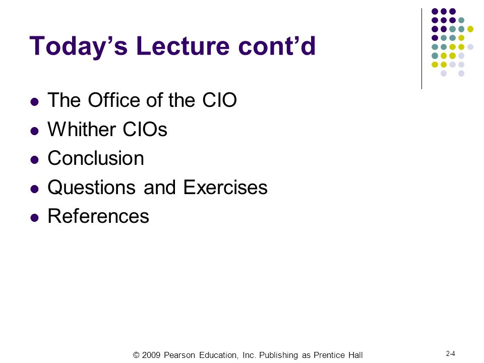 Today's Lecture cont'd