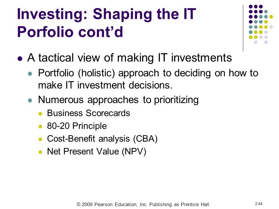 Investing: Shaping the IT Porfolio cont'd