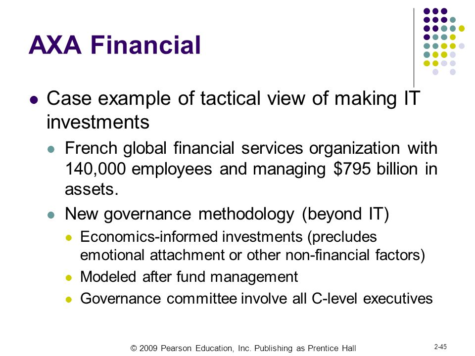 AXA Financial Case example of tactical view of making IT investments