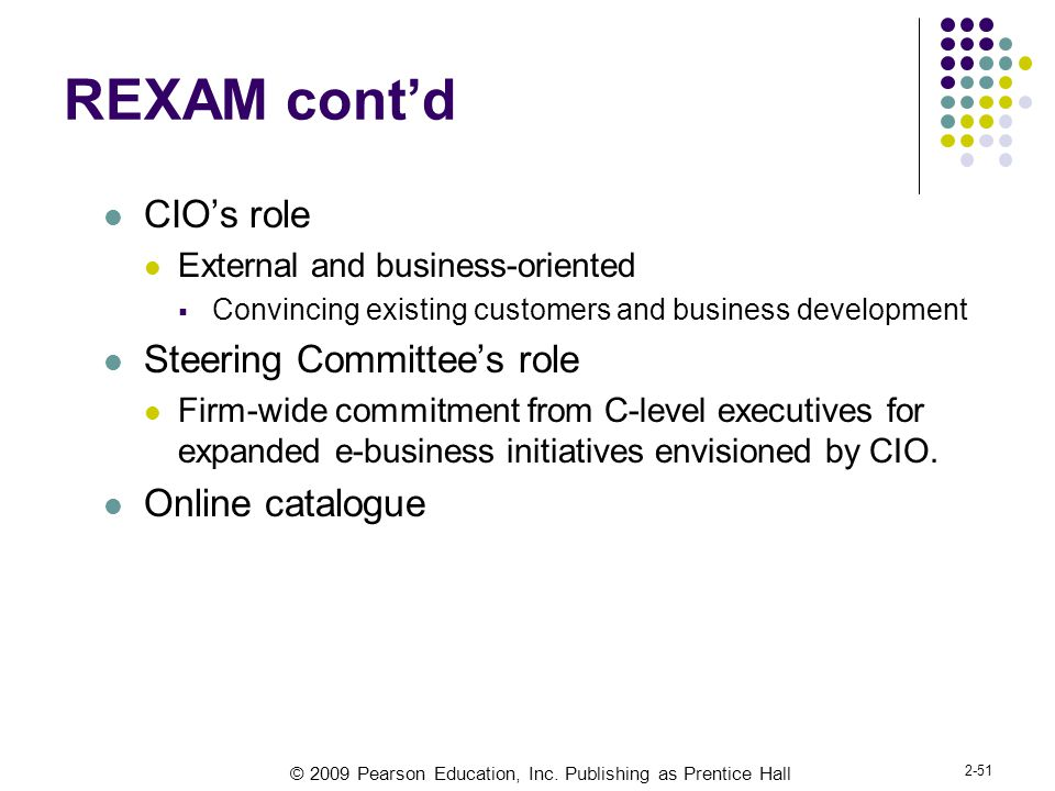 REXAM cont'd CIO's role Steering Committee's role Online catalogue
