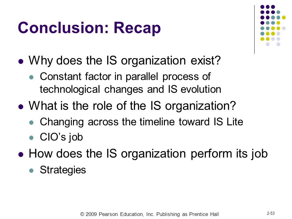 Conclusion: Recap Why does the IS organization exist