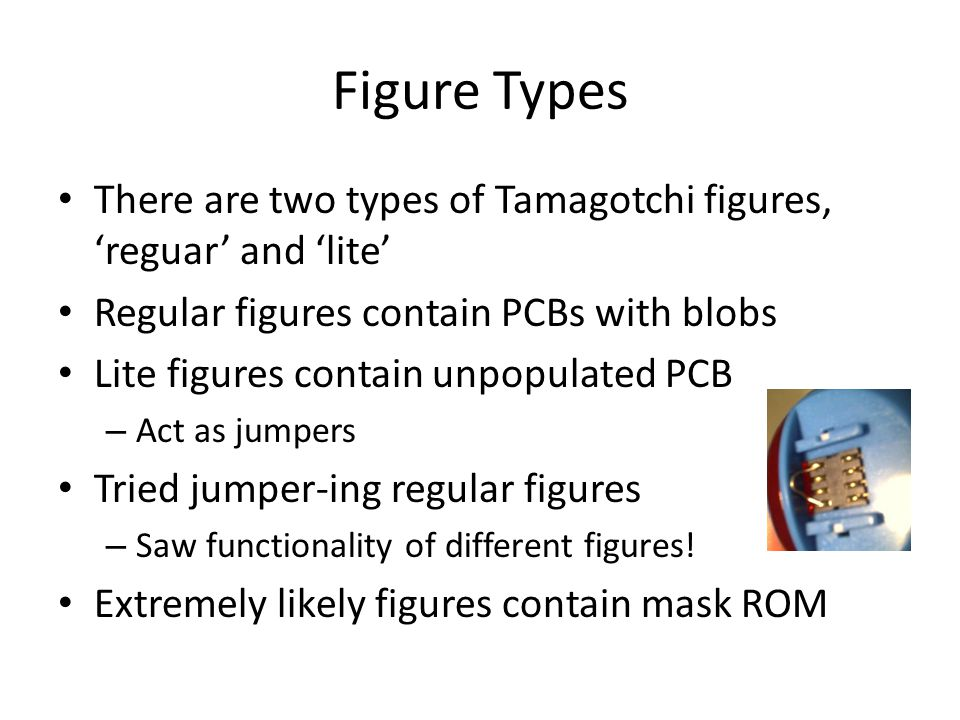 Figure Types There are two types of Tamagotchi figures, 'reguar' and 'lite' Regular figures contain PCBs with blobs.
