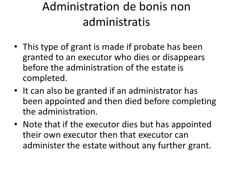 Administration de bonis non administratis