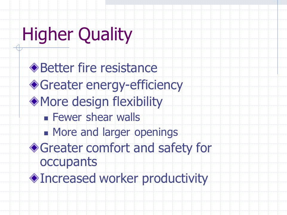 Higher Quality Better fire resistance Greater energy-efficiency
