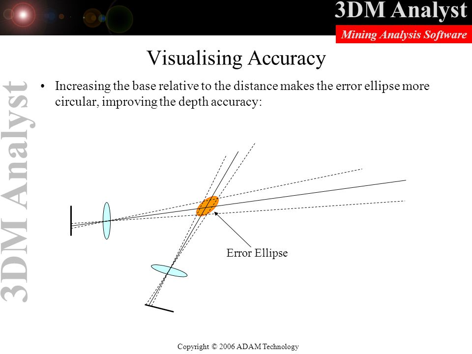 Visualising Accuracy Increasing the base relative to the distance makes the error ellipse more circular, improving the depth accuracy:
